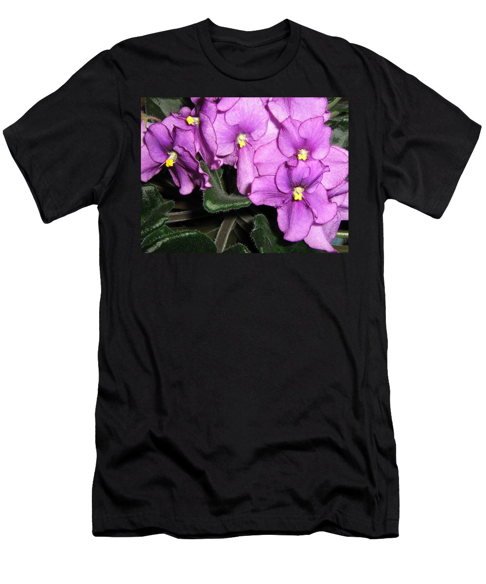 Flowers Men's T-Shirt (Athletic Fit) featuring the photograph African Violets by Barbara Yearty
