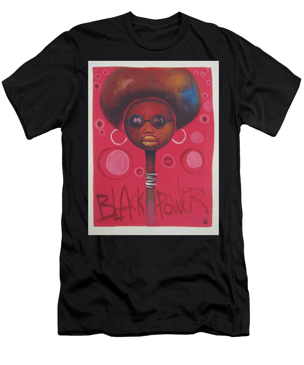 Afro Men's T-Shirt (Athletic Fit) featuring the painting Afro American Women by Jafeth Moiane