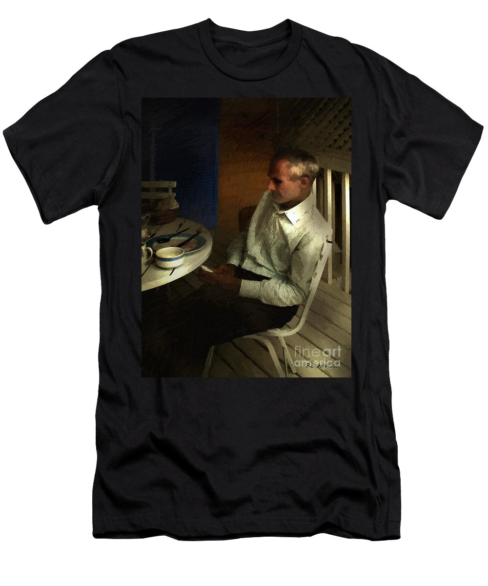 Contemplative Men's T-Shirt (Athletic Fit) featuring the painting After Dinner by RC DeWinter