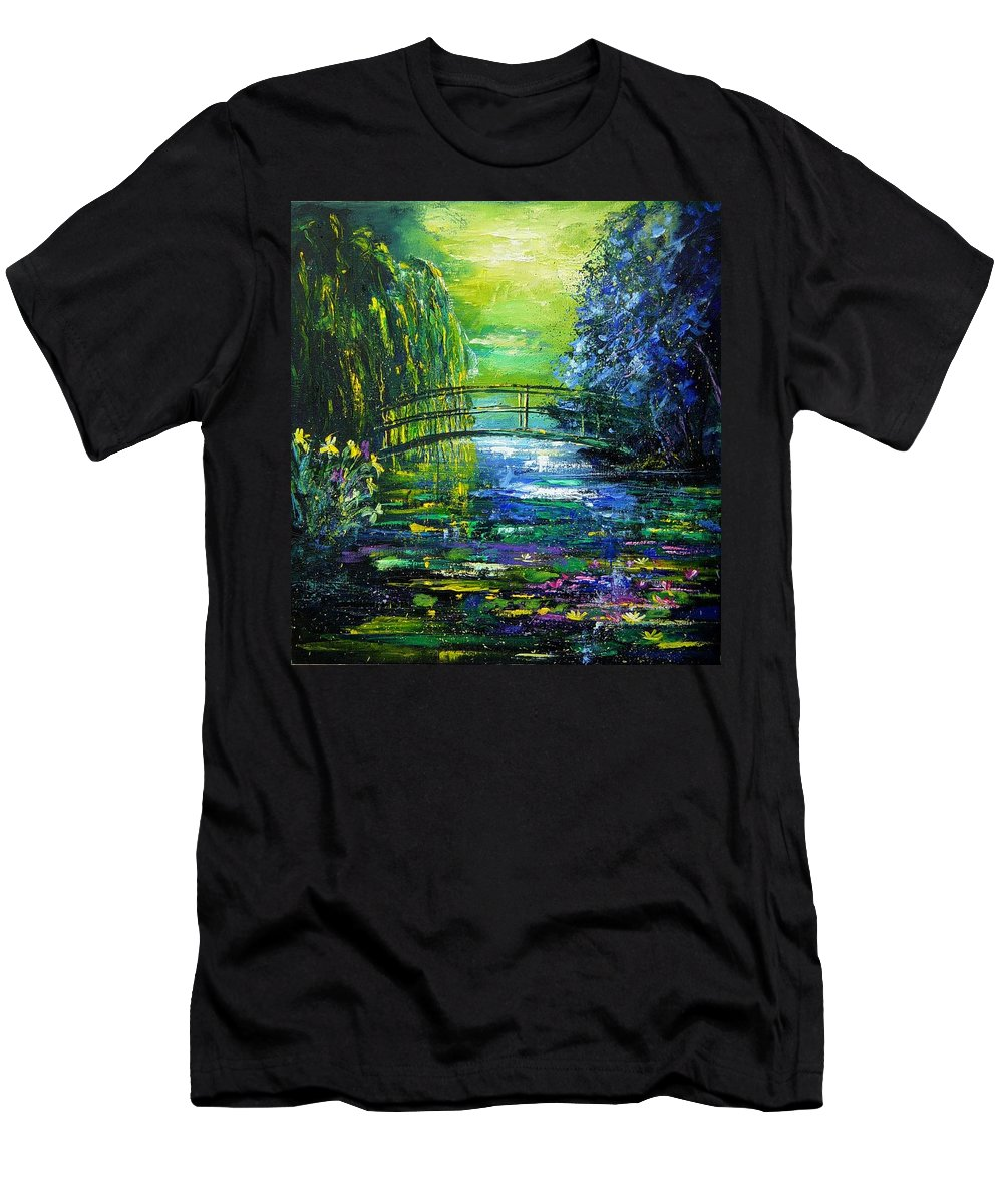 Pond Men's T-Shirt (Athletic Fit) featuring the painting After Monet by Pol Ledent