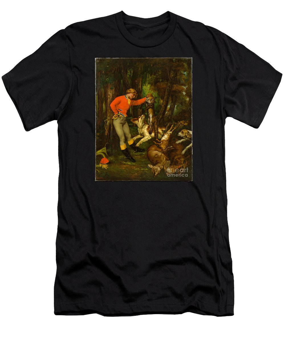 After The Hunt Artist Gustave Courbet Men's T-Shirt (Athletic Fit) featuring the painting After The Hunt by Celestial Images