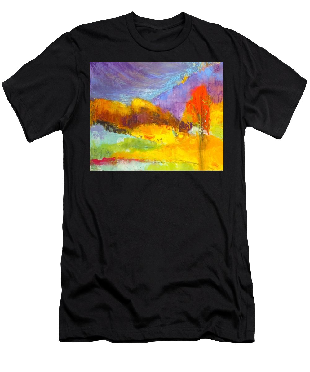 Abstract Landscape Men's T-Shirt (Athletic Fit) featuring the painting After The Rain by Suzanne Kfoury