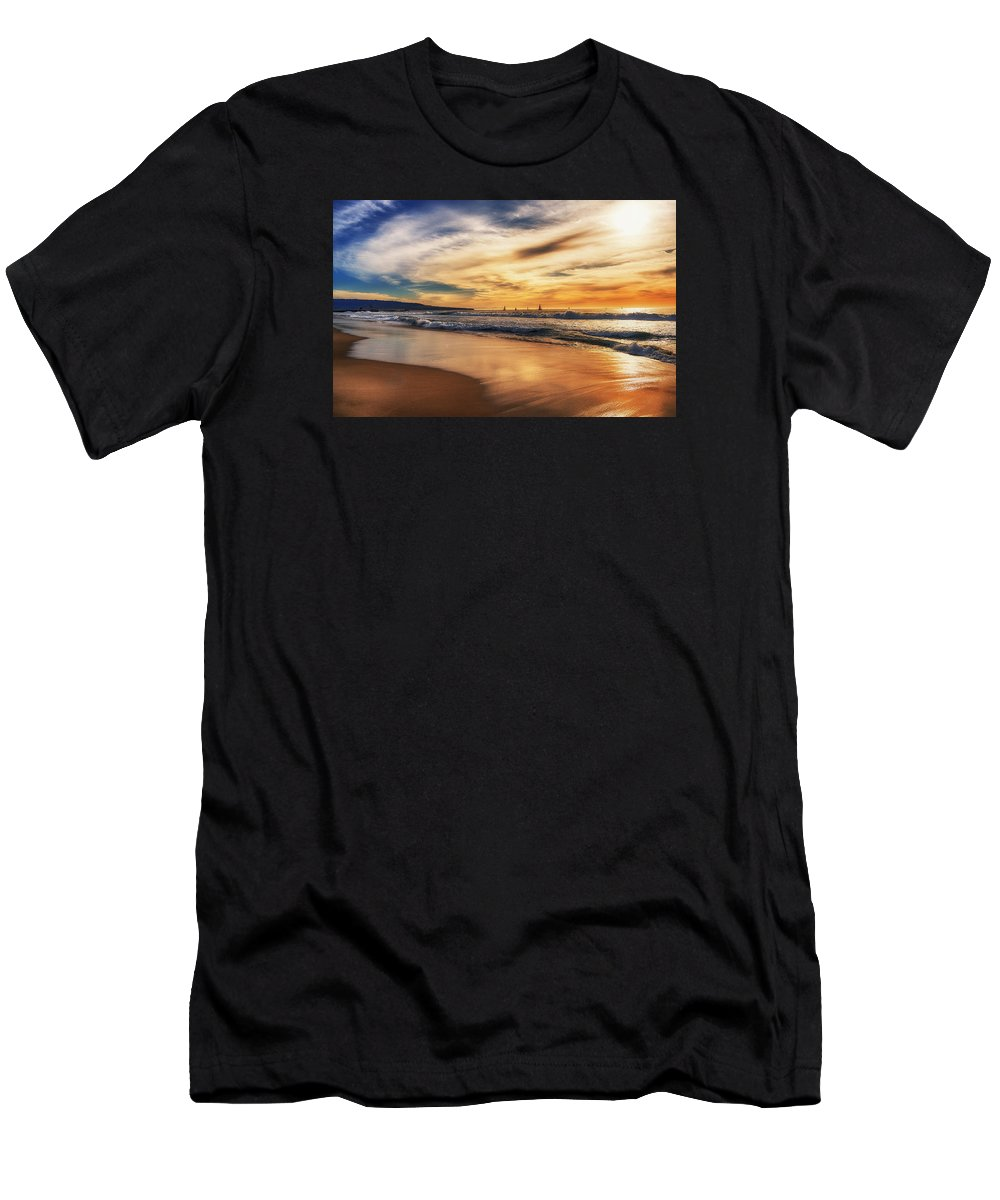 Hermosa Men's T-Shirt (Athletic Fit) featuring the photograph Afternoon At The Beach by Michael Hope
