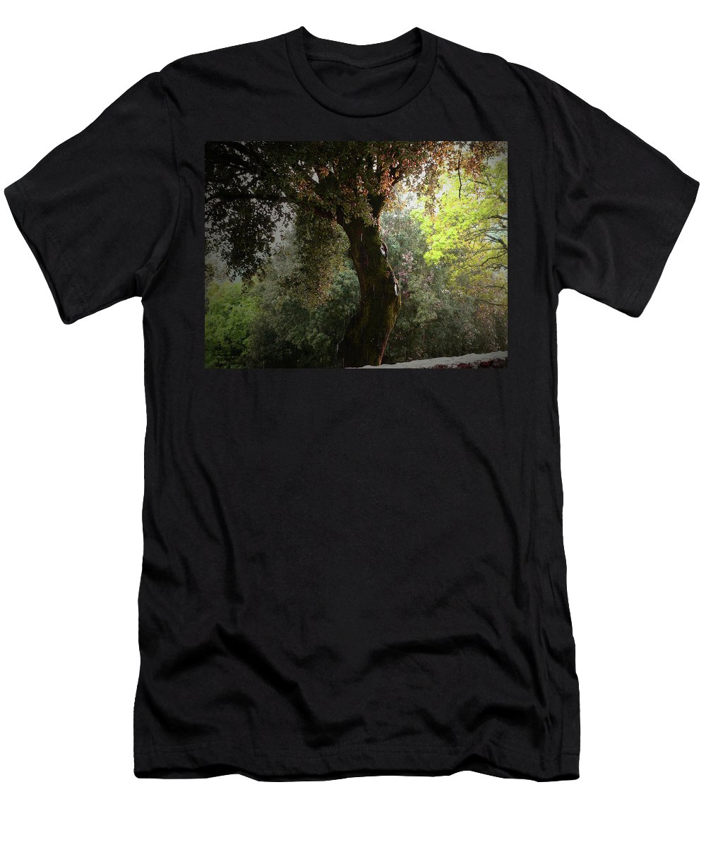 Rain Men's T-Shirt (Athletic Fit) featuring the photograph Afternoon Rain by Angela Wright