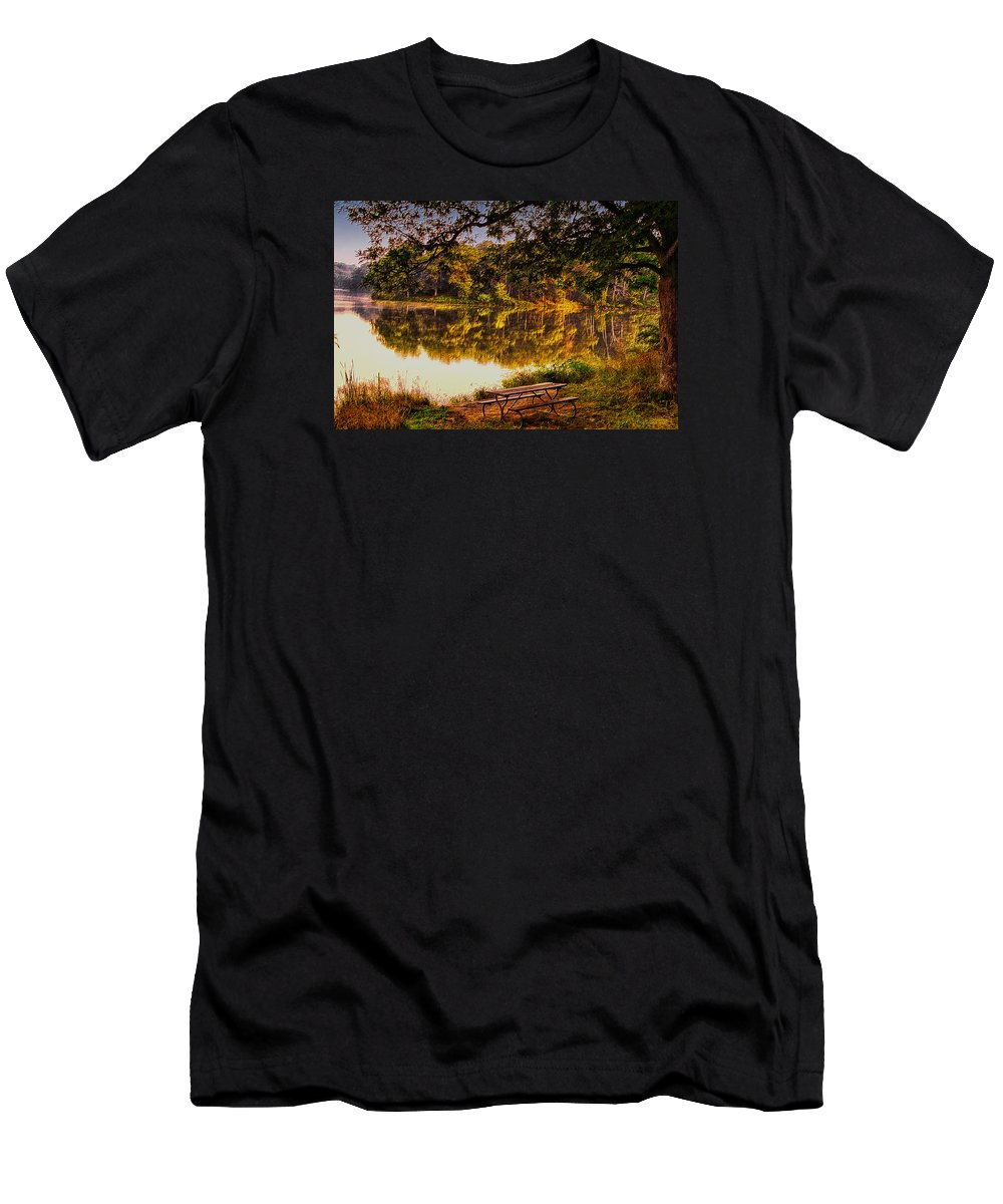 Lake Men's T-Shirt (Athletic Fit) featuring the photograph Afternoon View Argyle Lake Illinois by Thomas Woolworth