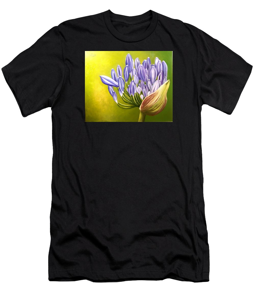 Flower Men's T-Shirt (Athletic Fit) featuring the painting Agapanthos by Natalia Tejera