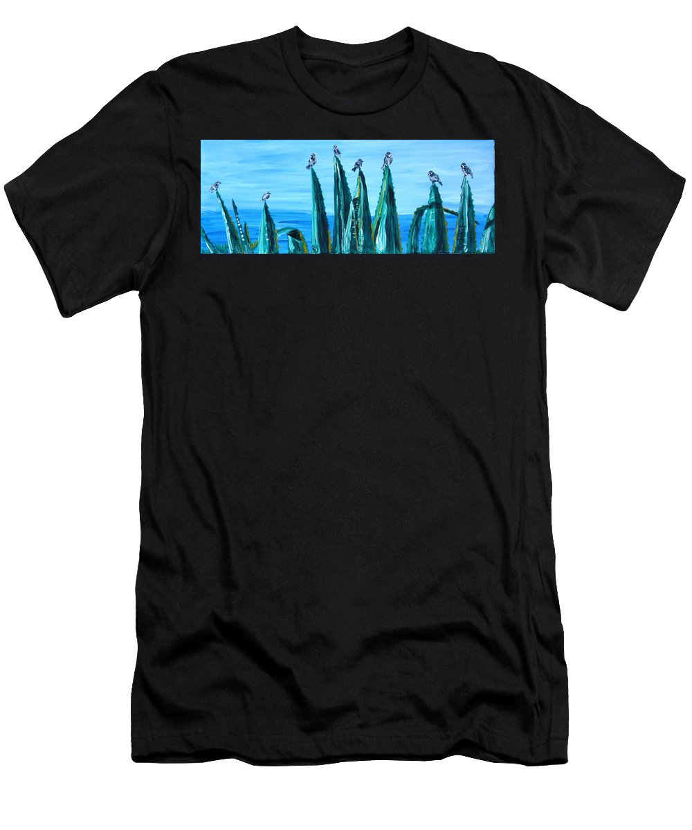 Landscape Men's T-Shirt (Athletic Fit) featuring the painting Agave With Sparrows by Valerie Ornstein