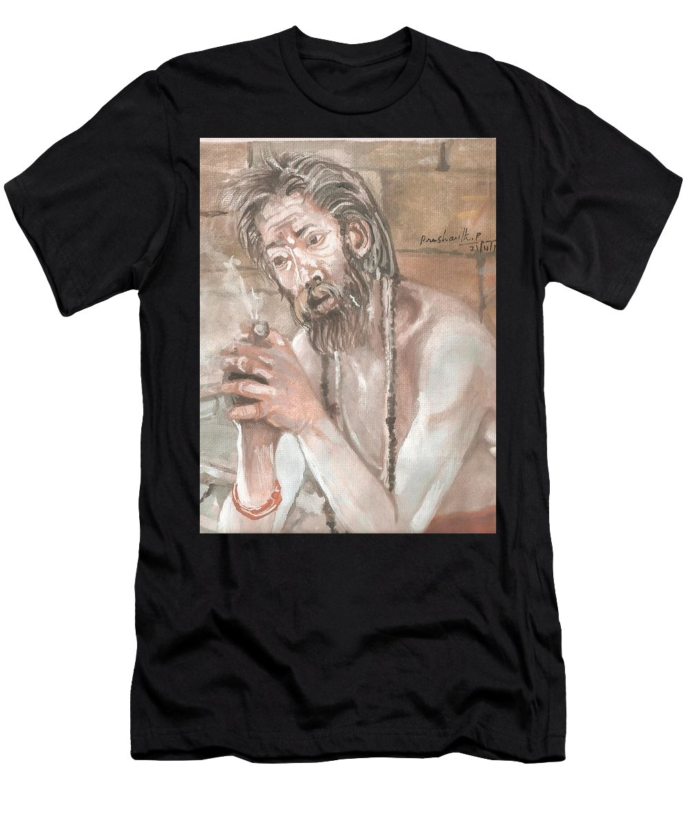 Agori Men's T-Shirt (Athletic Fit) featuring the painting Agori by Prashanth Paladugu