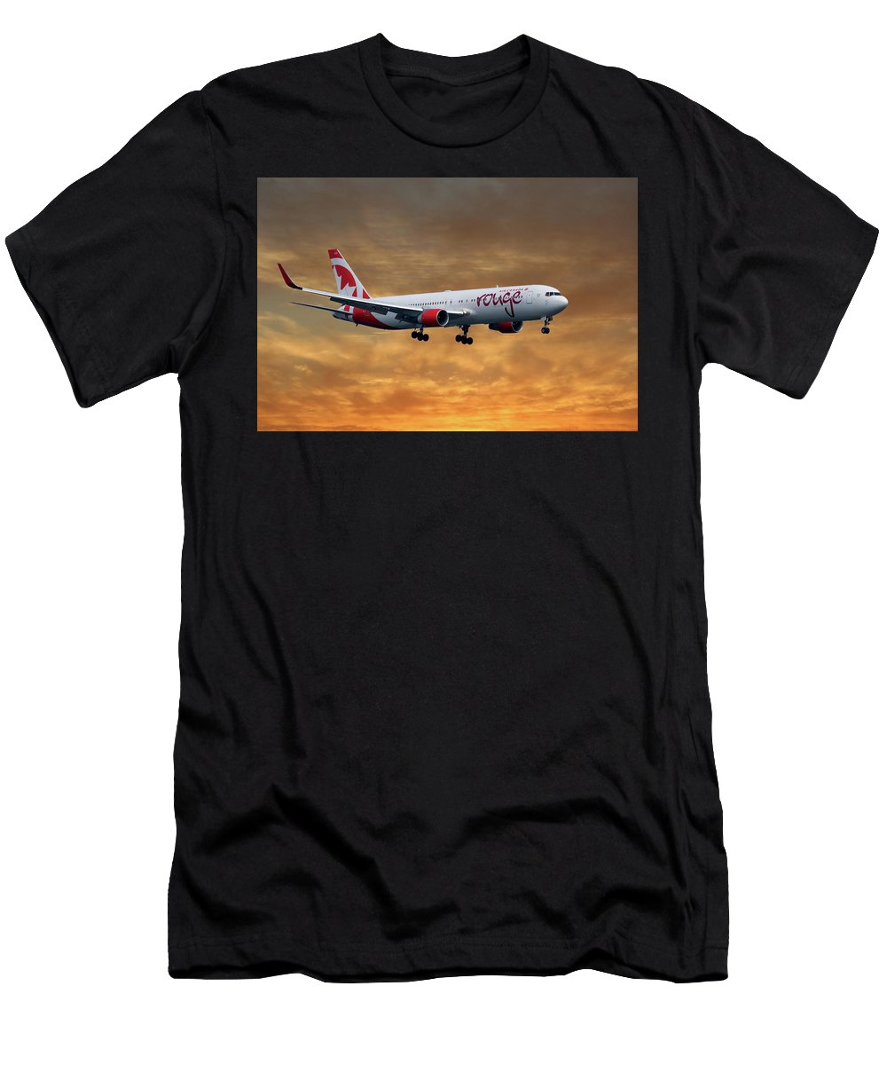 Air Canada Men's T-Shirt (Athletic Fit) featuring the photograph Air Canada Rouge Boeing 767-333 2 by Smart Aviation