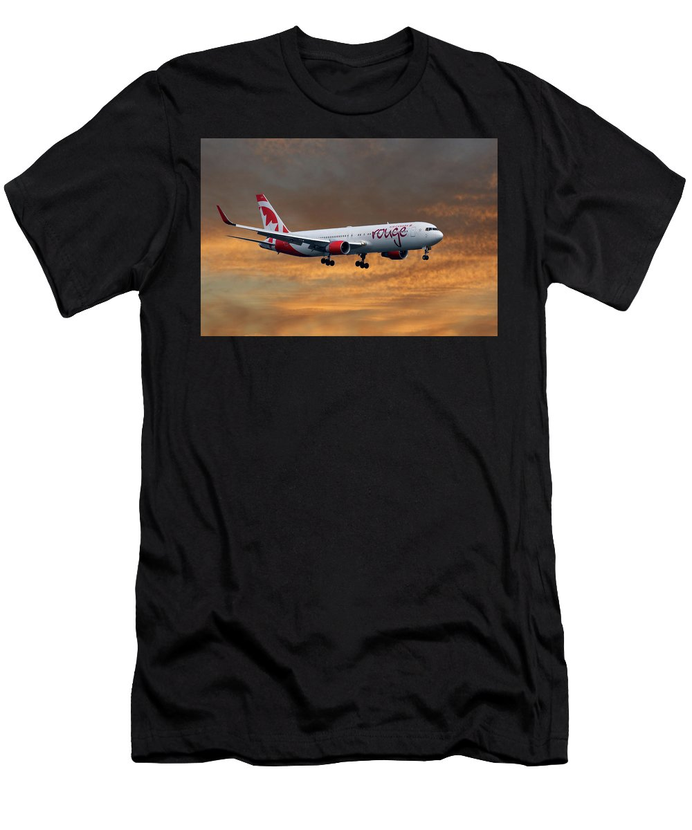 Air Canada Men's T-Shirt (Athletic Fit) featuring the photograph Air Canada Rouge Boeing 767-333 3 by Smart Aviation
