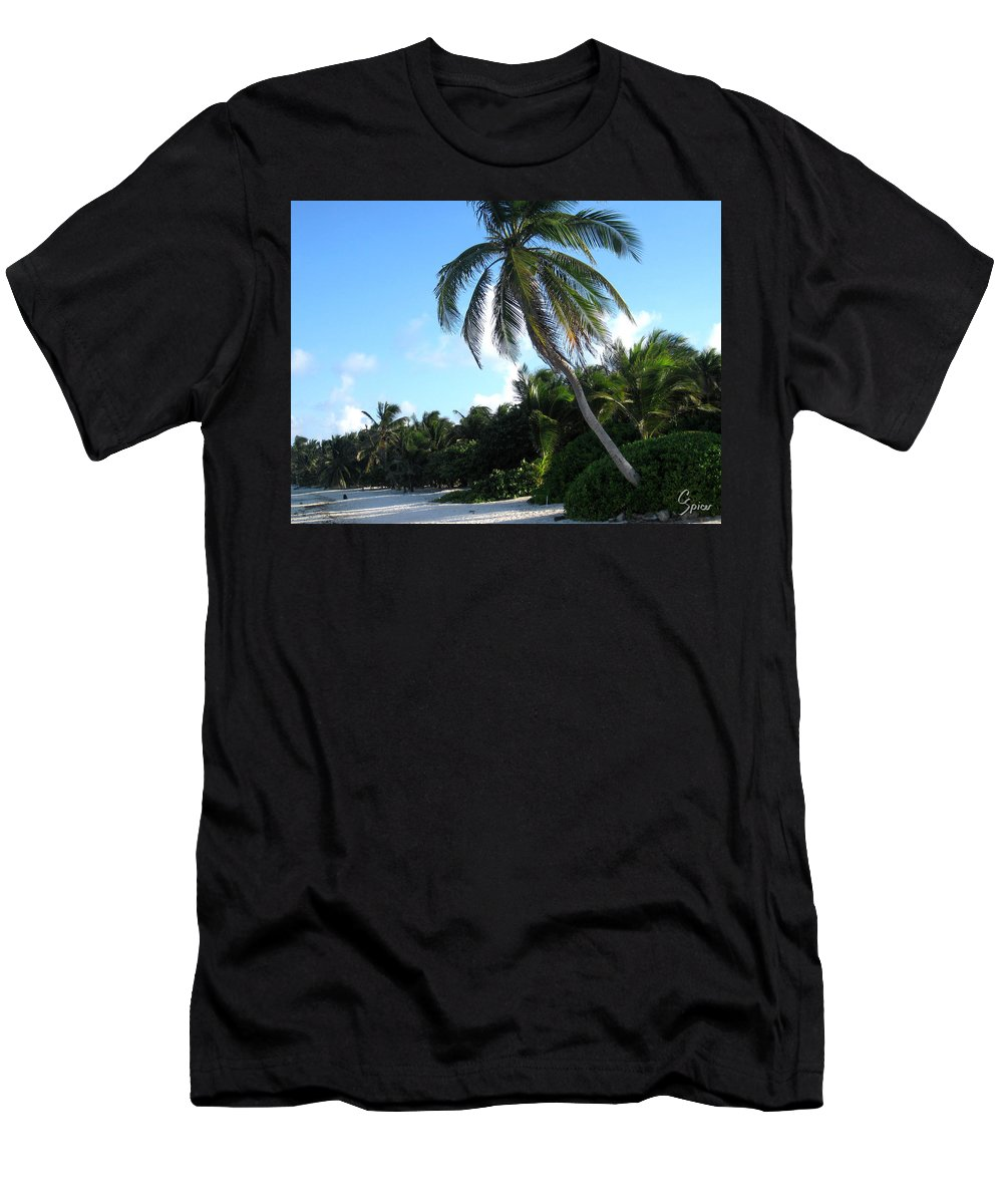 Beach Men's T-Shirt (Athletic Fit) featuring the photograph Akumal Sur Beach 01 by Christopher Spicer