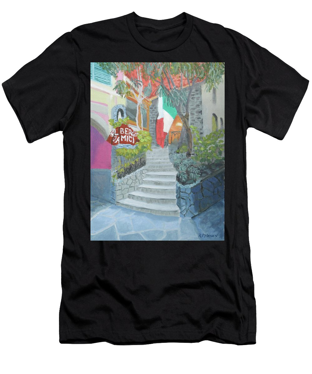 Italy Men's T-Shirt (Athletic Fit) featuring the painting Al Bergo Degli Amici by Robert P Hedden