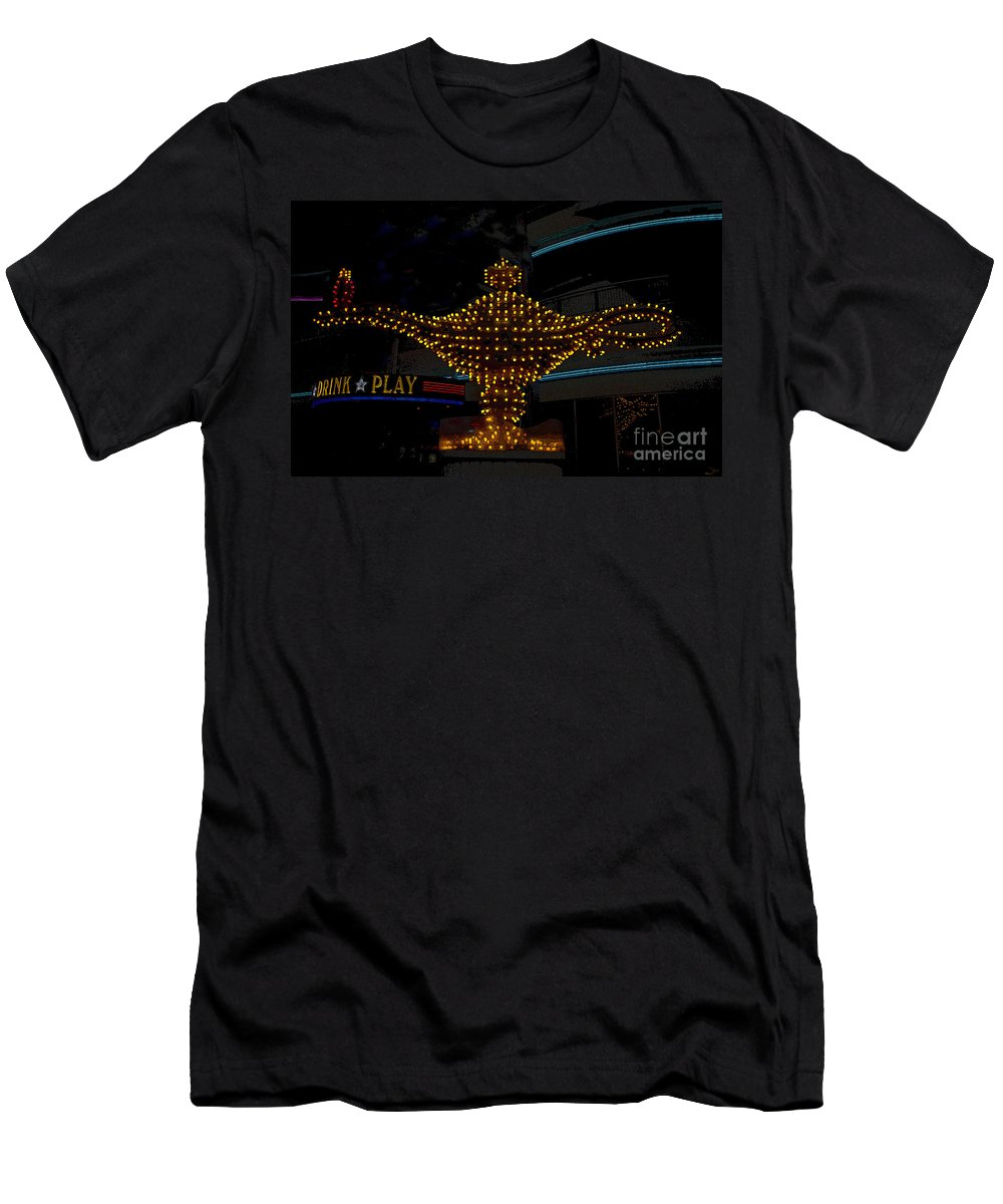 Art Men's T-Shirt (Athletic Fit) featuring the painting Aladdin Las Vegas by David Lee Thompson