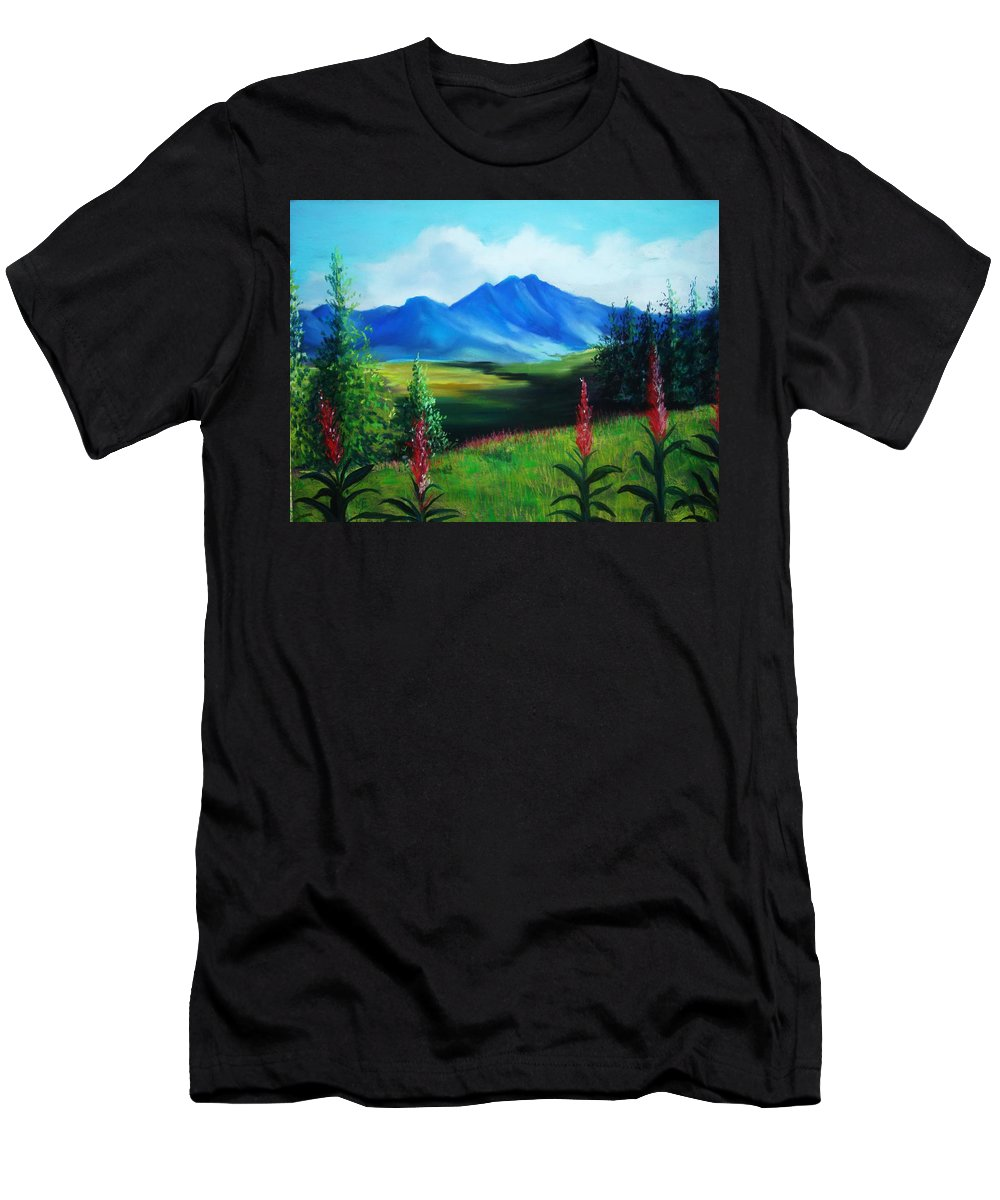 Alaska Men's T-Shirt (Athletic Fit) featuring the pastel Alaska by Melinda Etzold