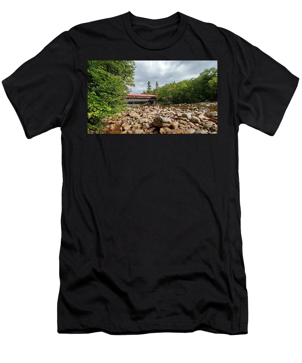 Cell Phone Picture Men's T-Shirt (Athletic Fit) featuring the photograph Albany Covered Bridge by Bill Morgenstern
