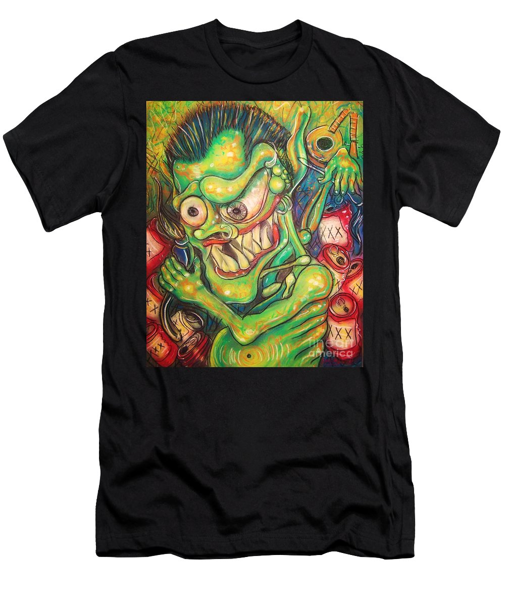 Beer Men's T-Shirt (Athletic Fit) featuring the painting Alcoholic Demon by Americo Salazar