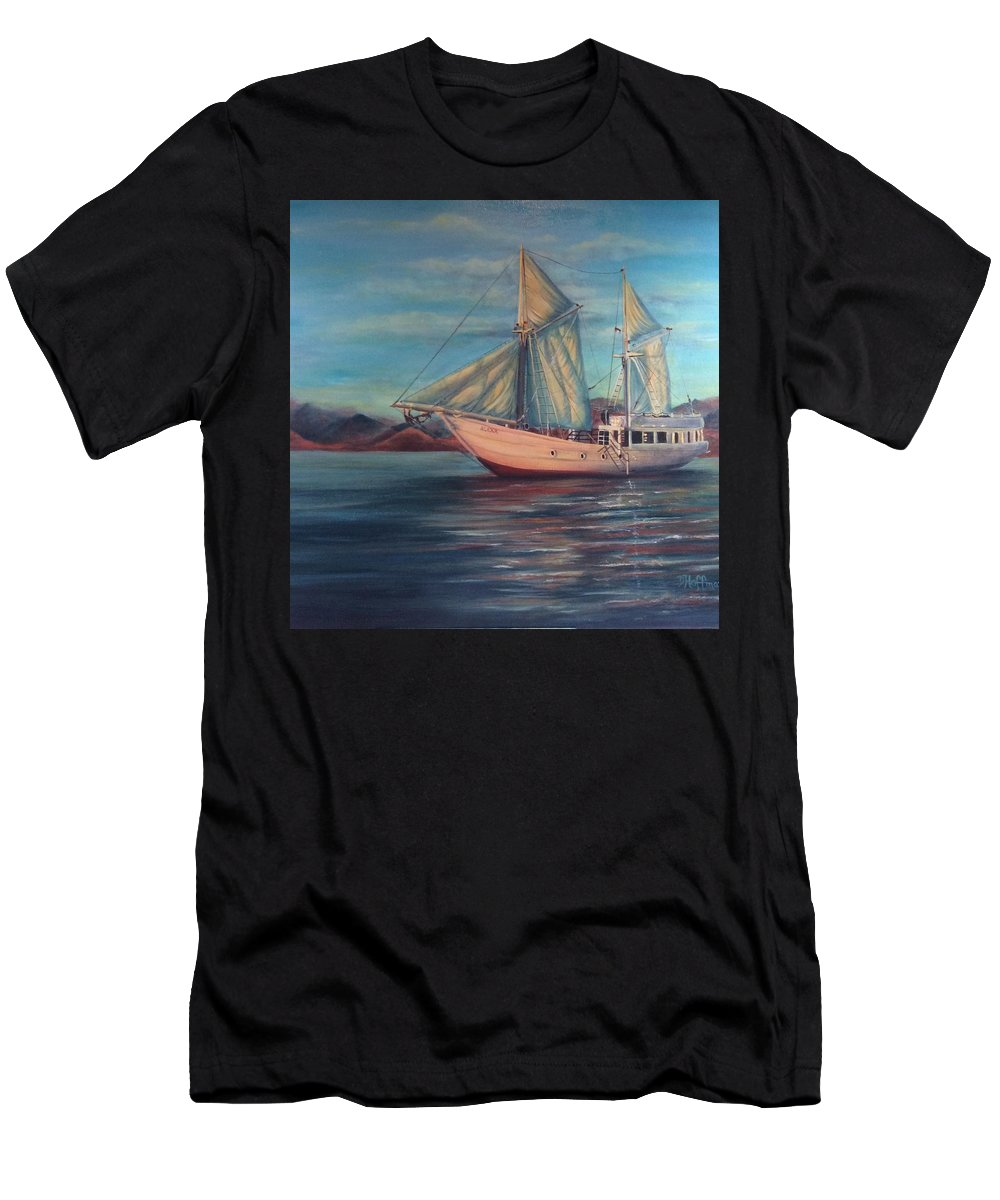 Sailing Men's T-Shirt (Athletic Fit) featuring the painting Alexa by Diane Hoffman