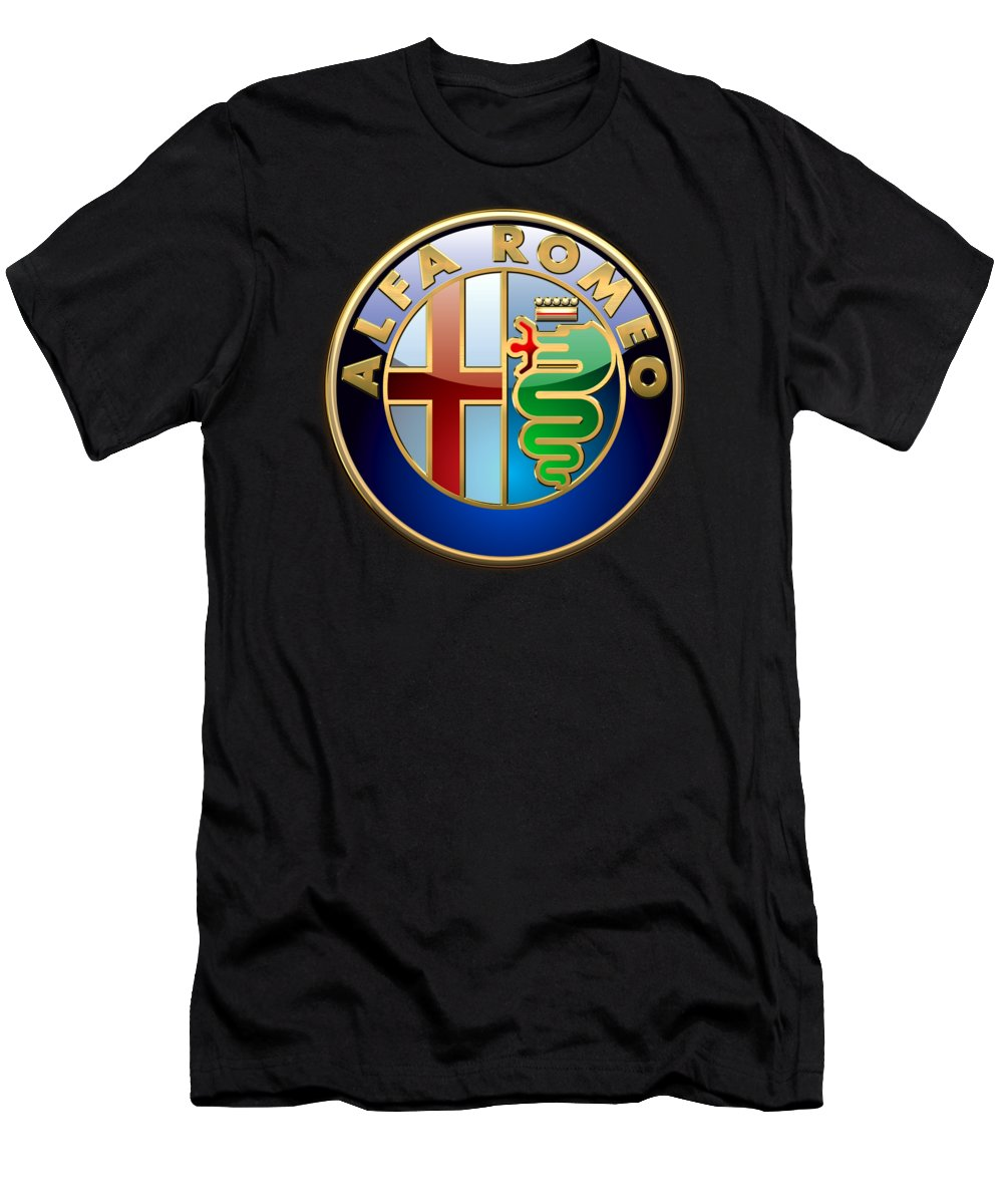 Wheels Of Fortune� Collection By Serge Averbukh T-Shirt featuring the photograph Alfa Romeo - 3 D Badge on Black by Serge Averbukh