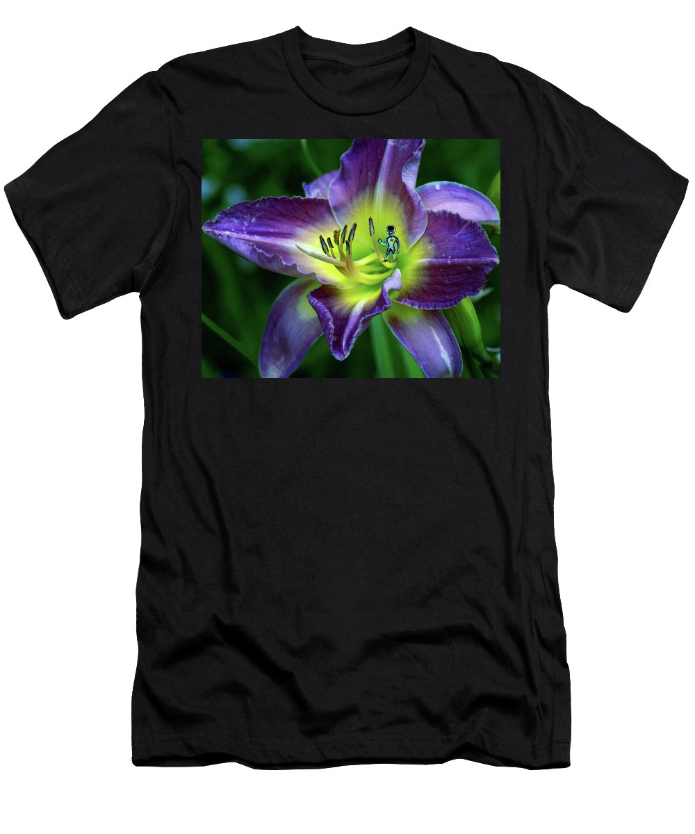 Flower Men's T-Shirt (Athletic Fit) featuring the photograph Alien On Flower by Ben Upham III
