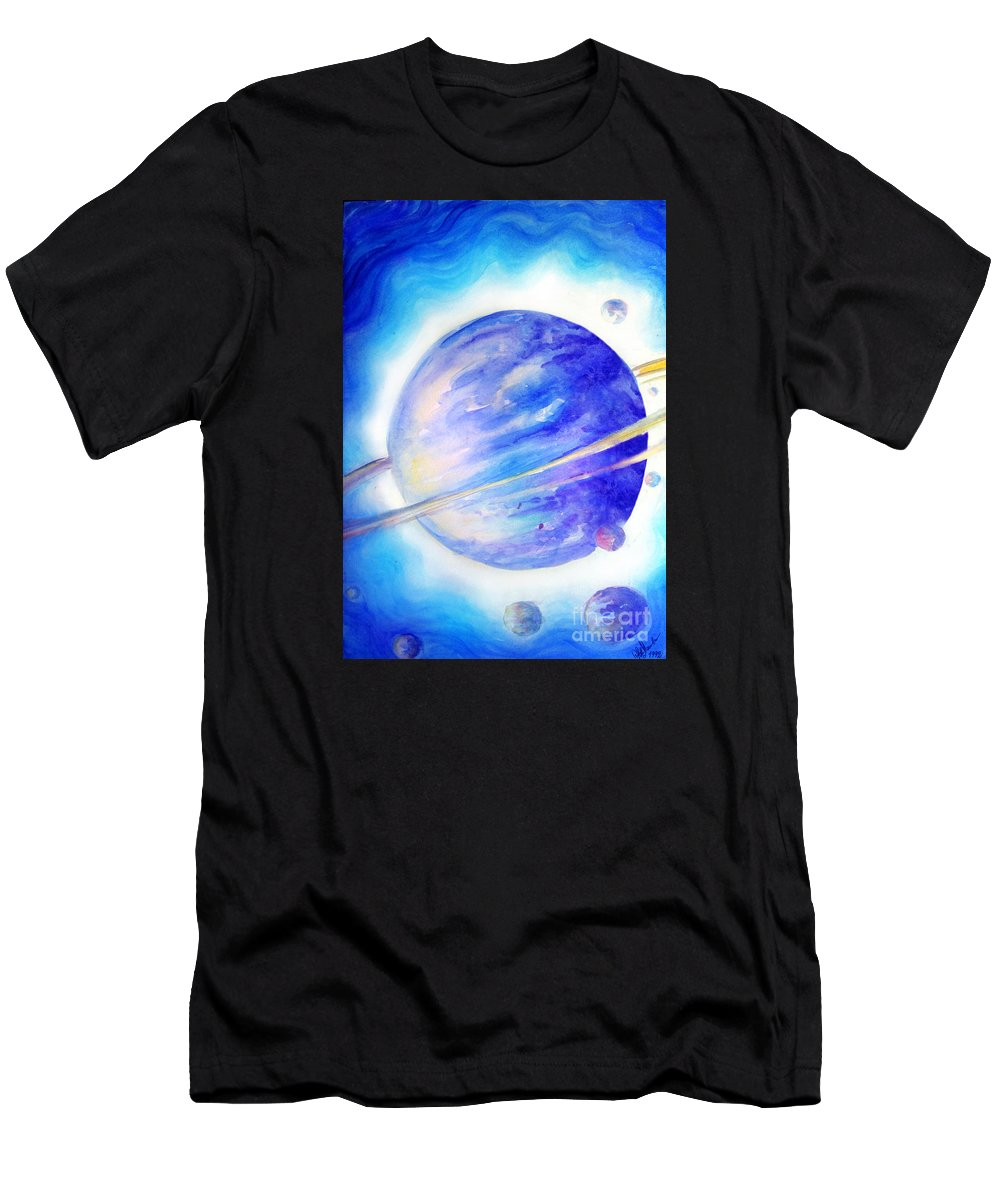 Blue Light Men's T-Shirt (Athletic Fit) featuring the painting Alien Planet. Blue Light Of Hope by Sofia Metal Queen