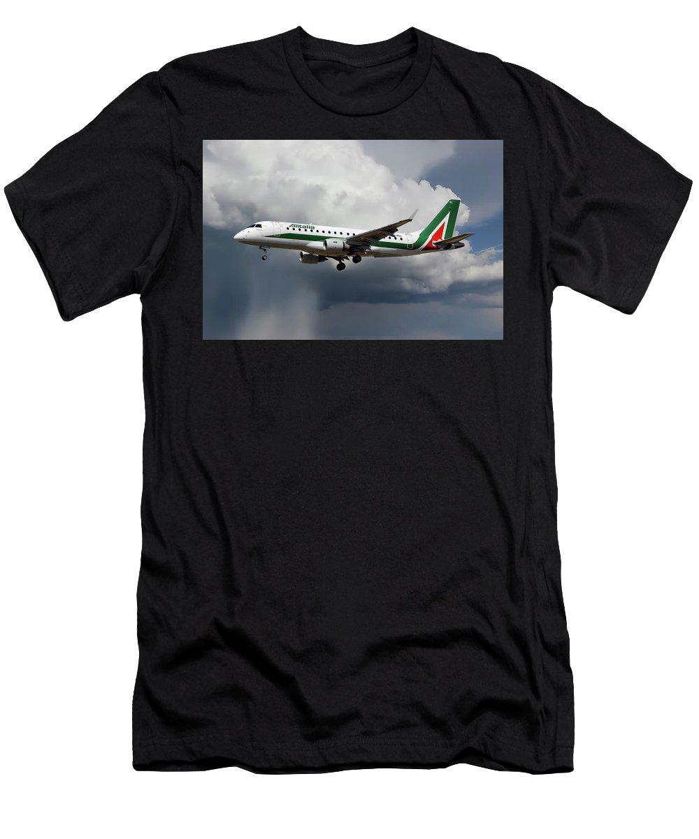 Alitalia Men's T-Shirt (Athletic Fit) featuring the photograph Alitalia Embraer Erj-175std by Smart Aviation