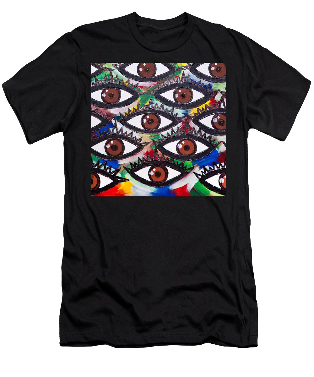 Abstract Men's T-Shirt (Athletic Fit) featuring the painting All Eyes On Me by Aliya Michelle