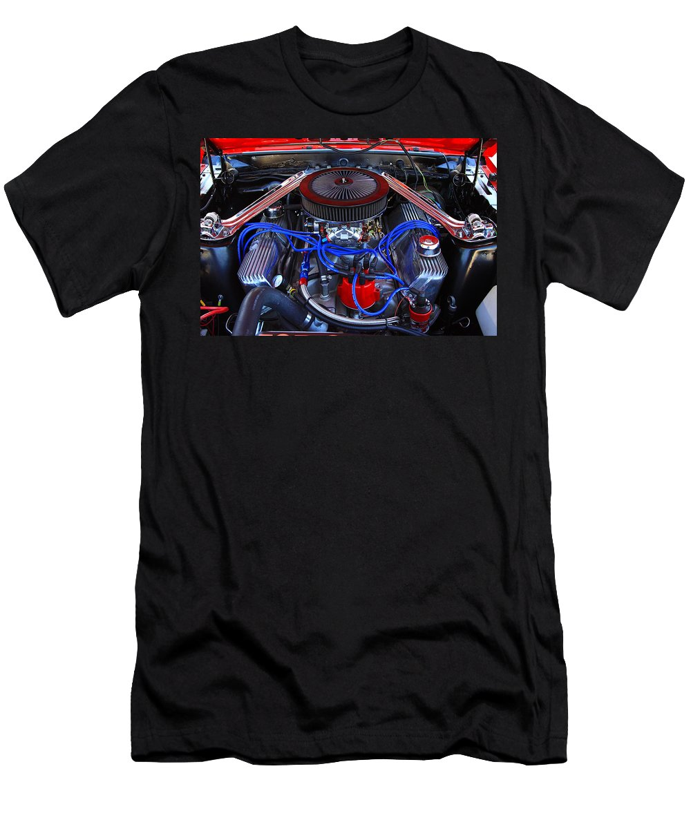 Engine Car Power Fast Classic Old Horse Power Red Blue Summer Beach Men's T-Shirt (Athletic Fit) featuring the photograph All Power by Robert Pearson
