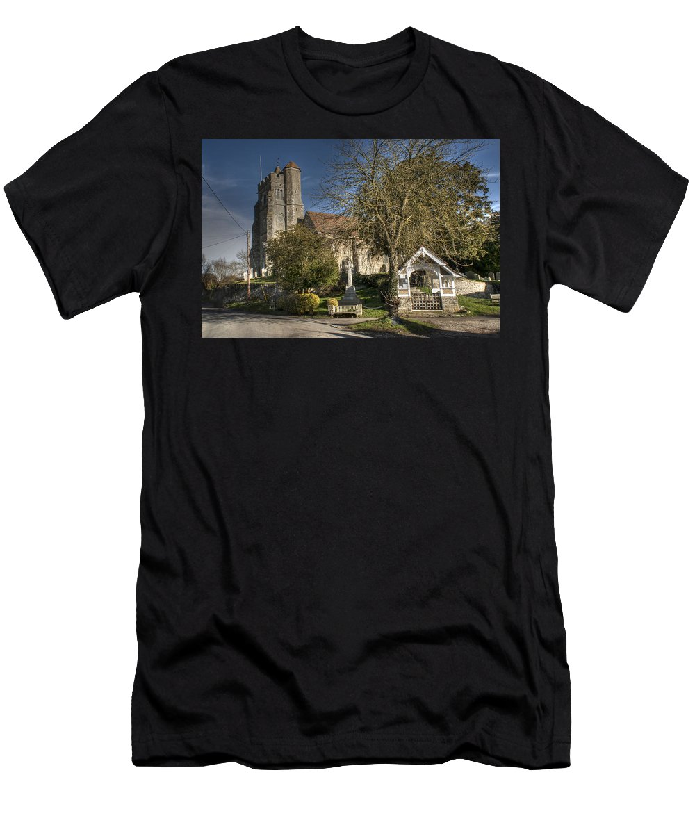 All Saints Birling Men's T-Shirt (Athletic Fit) featuring the photograph All Saints Birling by Dave Godden