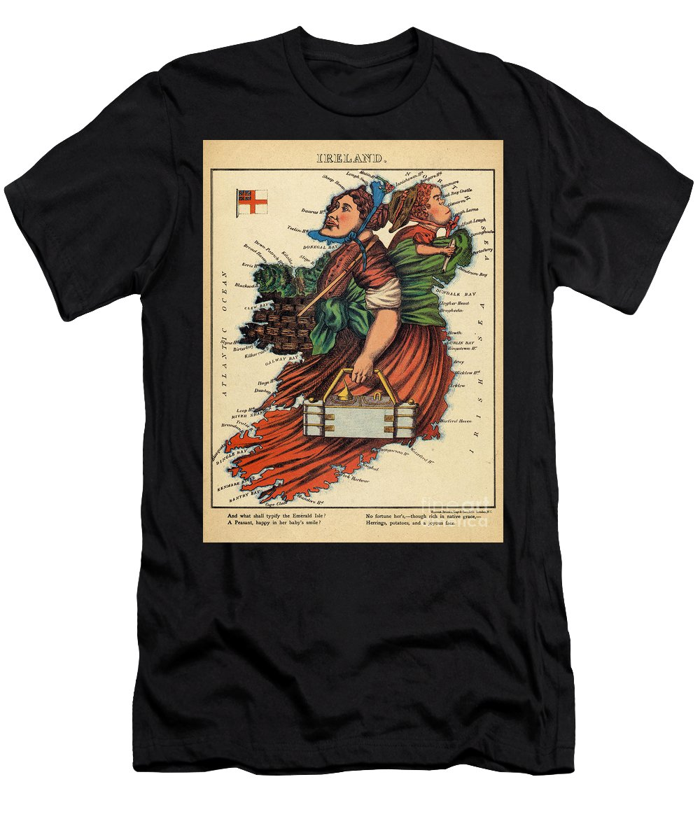Ireland Men's T-Shirt (Athletic Fit) featuring the drawing Allegory Of Ireland by English School