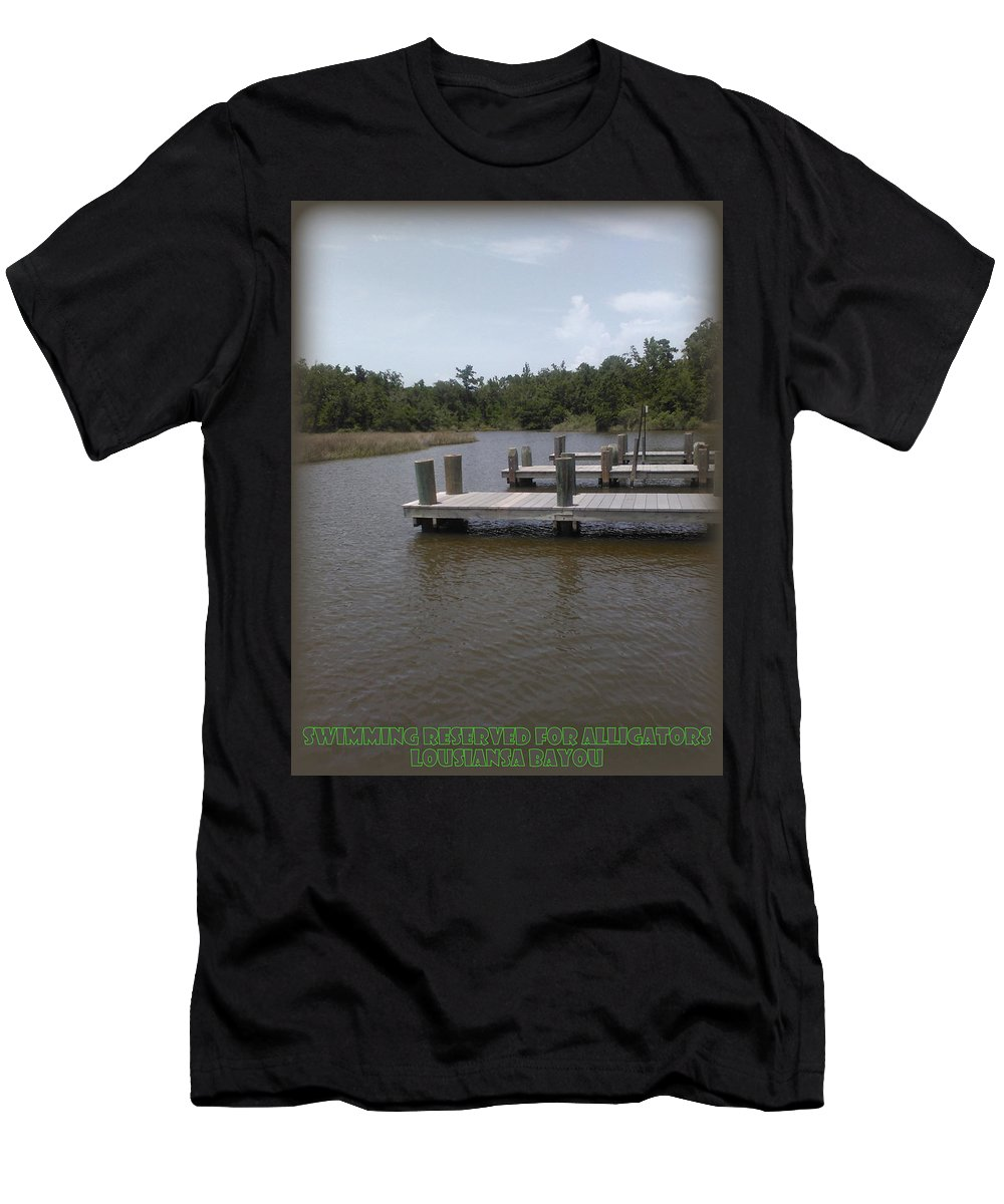 12.00x16.00 Men's T-Shirt (Athletic Fit) featuring the photograph Alligator Bayou by Lesli Sherwin