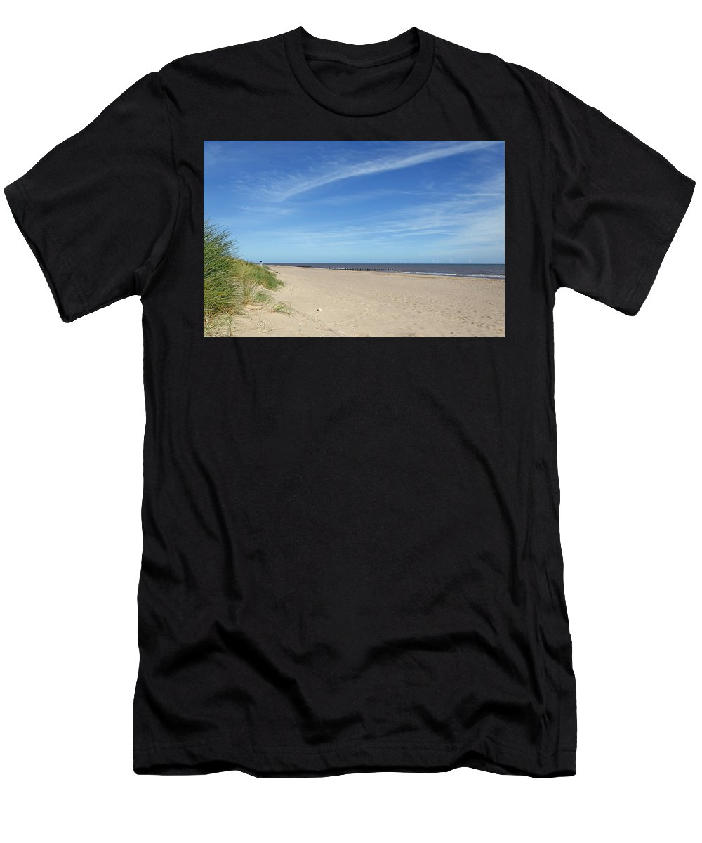 Skegness Men's T-Shirt (Athletic Fit) featuring the photograph Almost Deserted Beach At Skegness by Rod Johnson