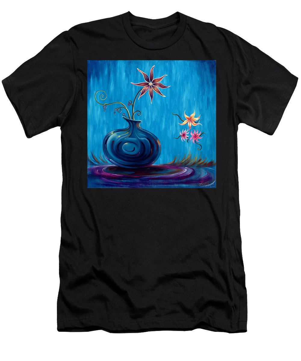 Fantasy Floral Scape Men's T-Shirt (Athletic Fit) featuring the painting Aloha Rain by Jennifer McDuffie