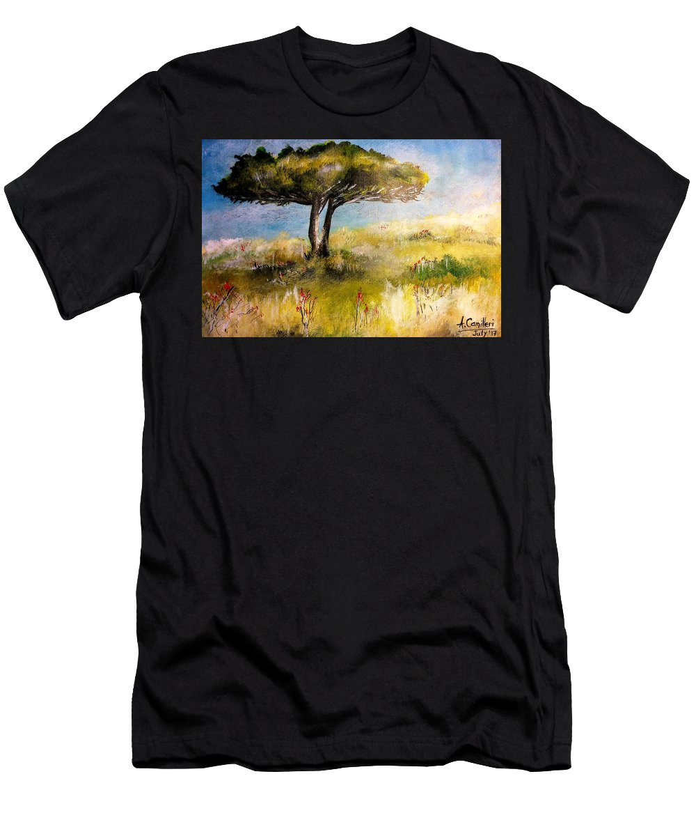 Men's T-Shirt (Athletic Fit) featuring the painting Alone by Anthony Camilleri