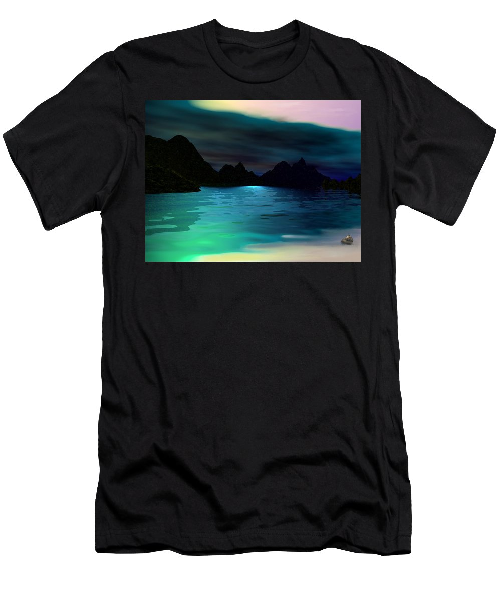 Seascape Men's T-Shirt (Athletic Fit) featuring the digital art Alone On The Beach by David Lane