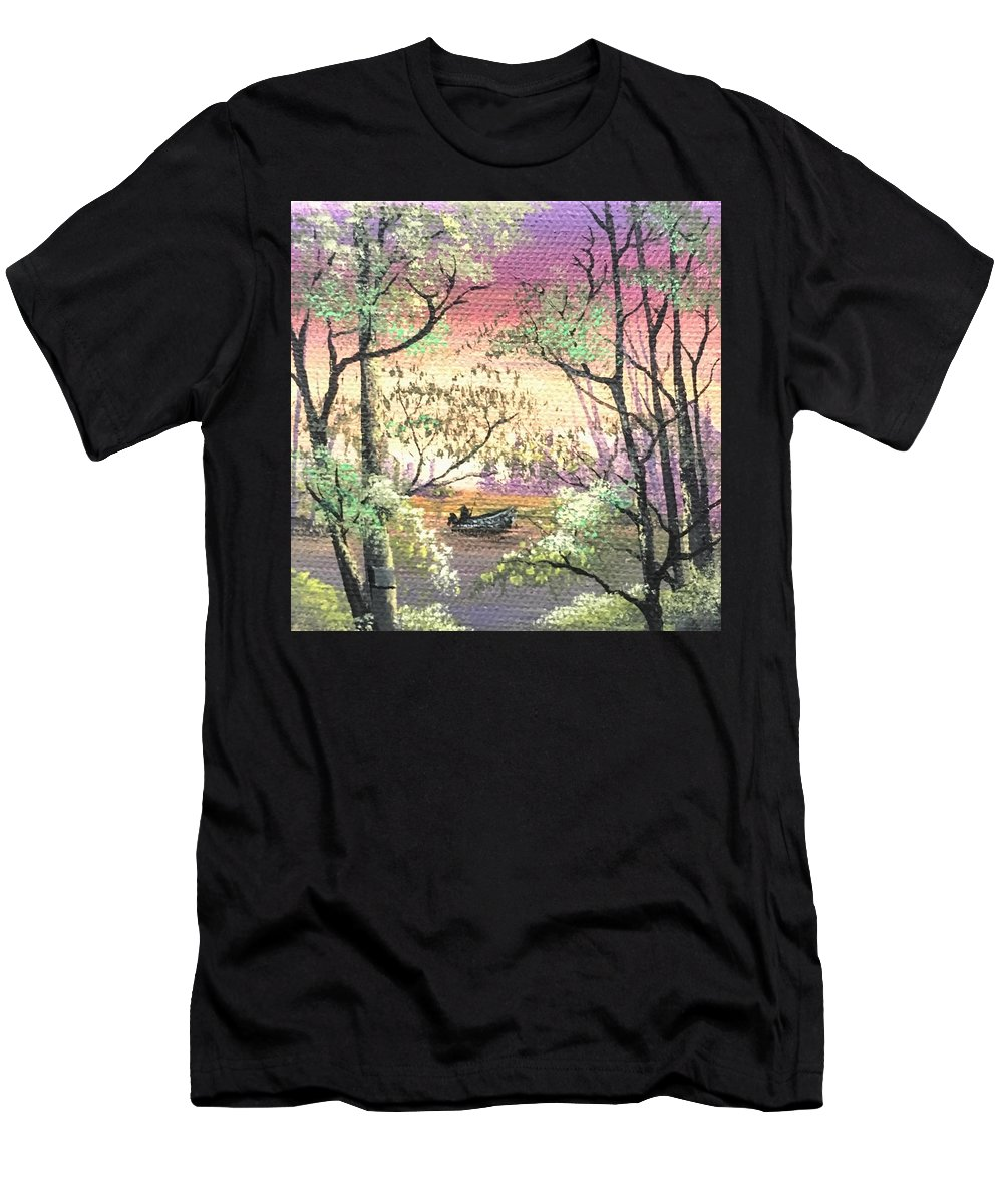 Landscape Men's T-Shirt (Athletic Fit) featuring the painting Alone On The Water by Glen Mcclements