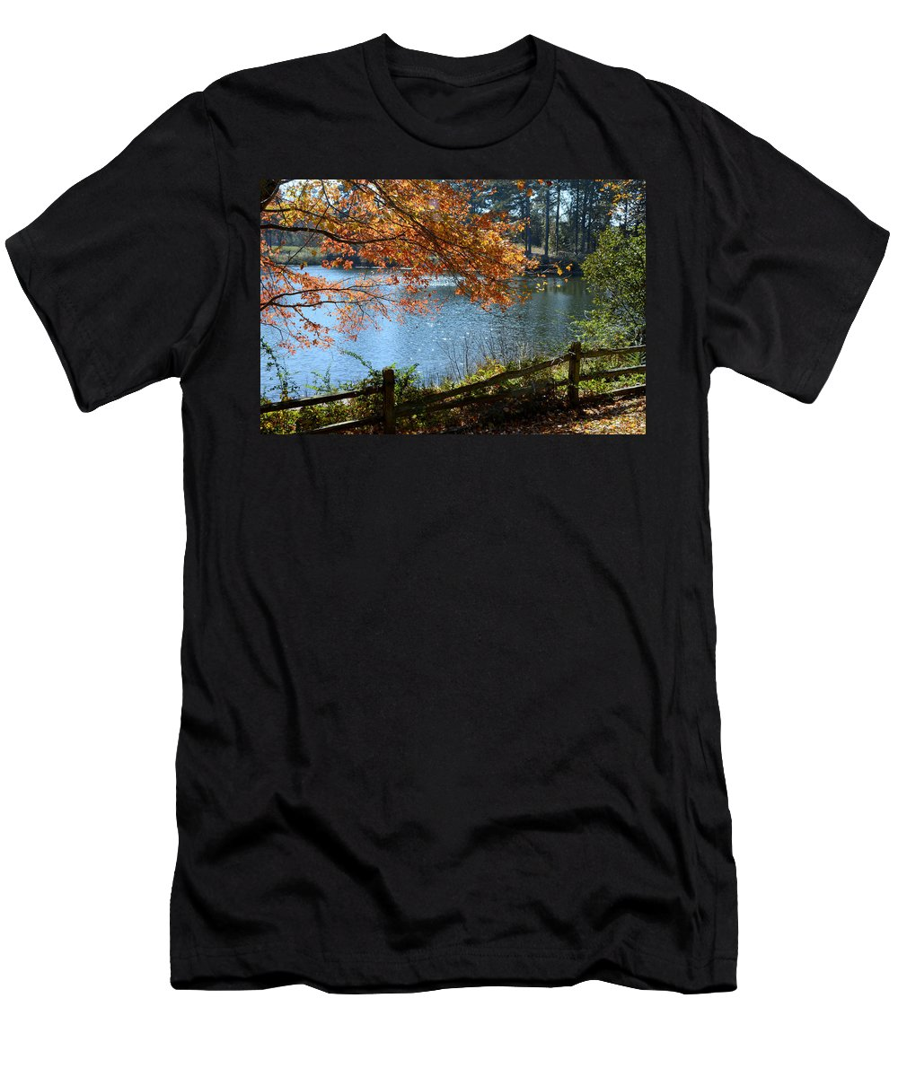 Road Men's T-Shirt (Athletic Fit) featuring the photograph Along The Road by Charles Bacon Jr
