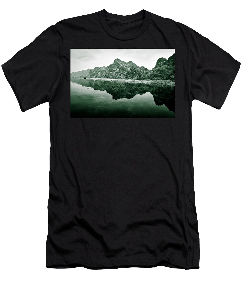 Yen Men's T-Shirt (Athletic Fit) featuring the photograph Along The Yen River by Dave Bowman