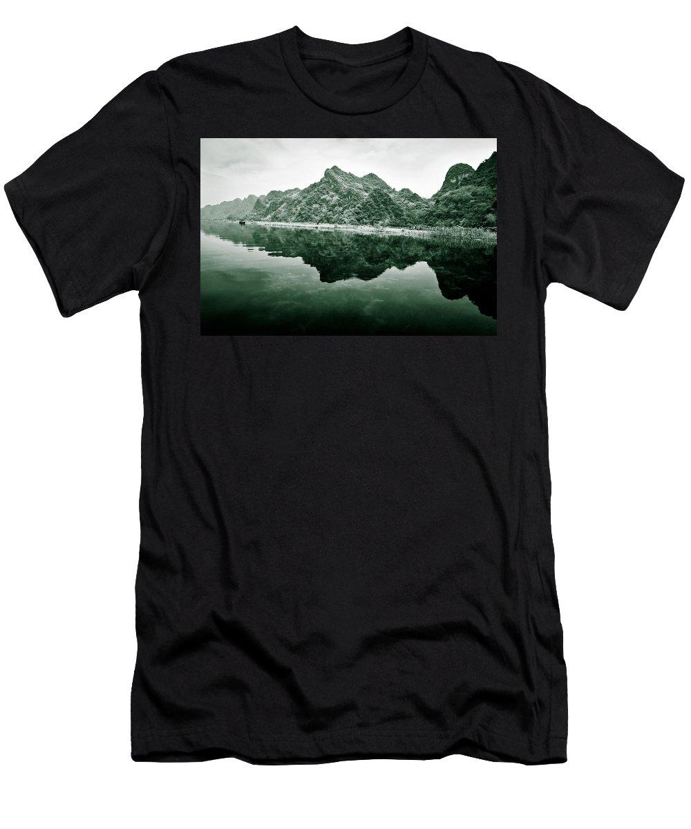Yen Men's T-Shirt (Athletic Fit) featuring the photograph Along The Yen River by Dave Bowman