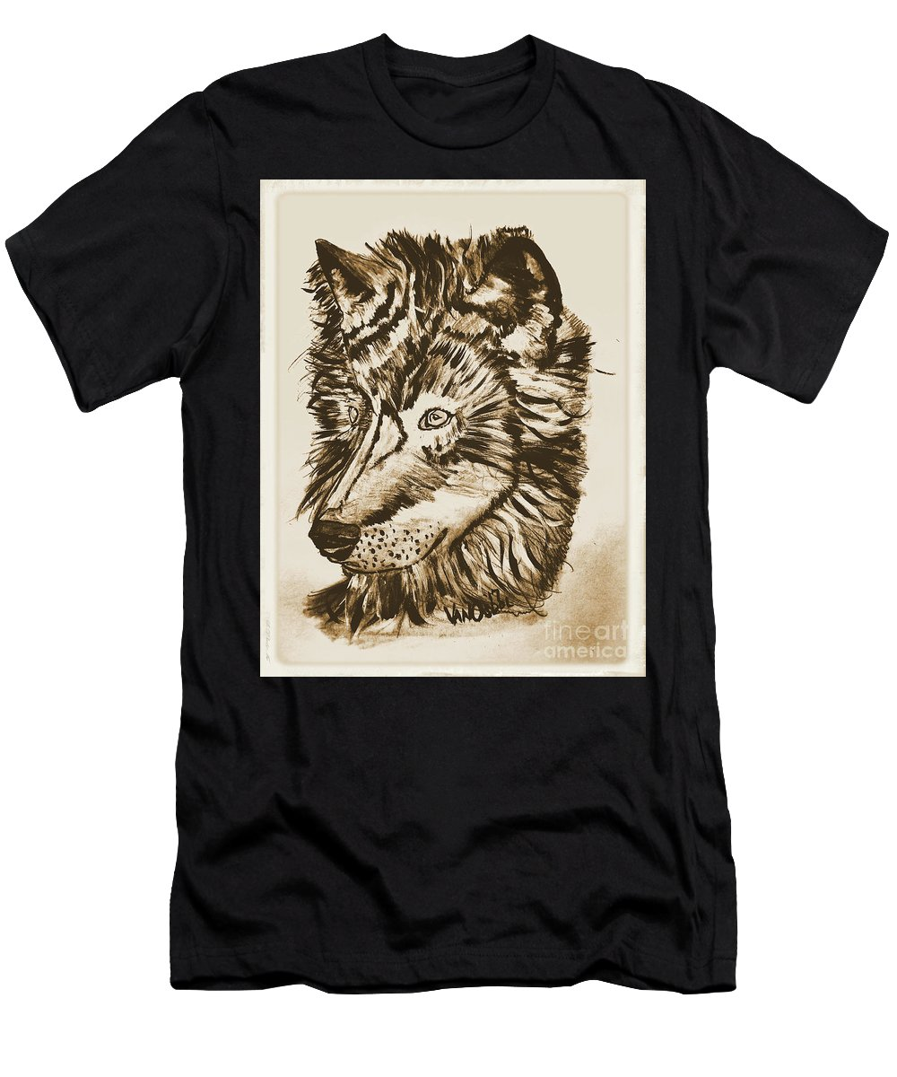 Alpha Men's T-Shirt (Athletic Fit) featuring the mixed media Alpha Male - The Wolf - Antiqued by Scott D Van Osdol