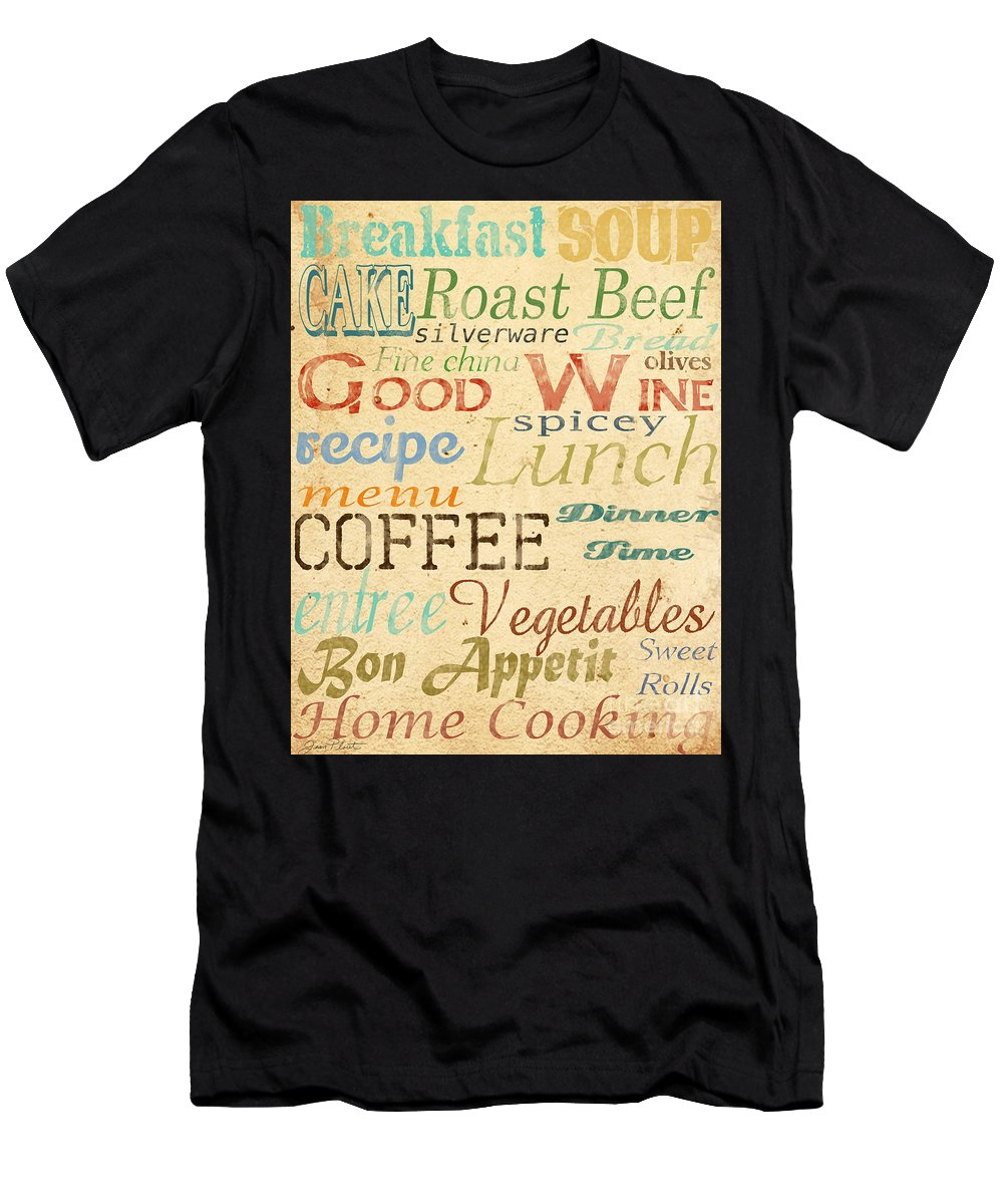 Jean Plout Men's T-Shirt (Athletic Fit) featuring the painting Alphabet Soup-a by Jean Plout