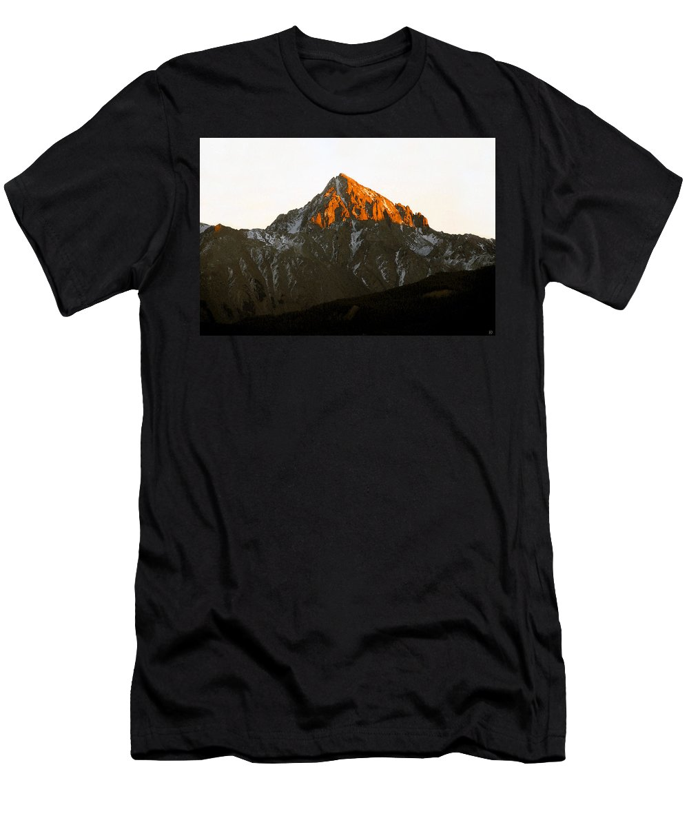 Alpine Glow Men's T-Shirt (Athletic Fit) featuring the painting Alpine Glow by David Lee Thompson