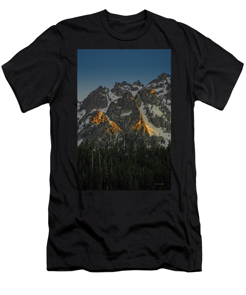 Mountan Men's T-Shirt (Athletic Fit) featuring the photograph Alpine Glow by Donna Blackhall
