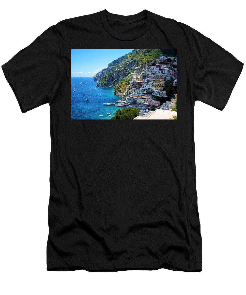 Amalfi Coast Men's T-Shirt (Athletic Fit) featuring the photograph Amalfi Coast, Positano, Italy by Ron Bartels