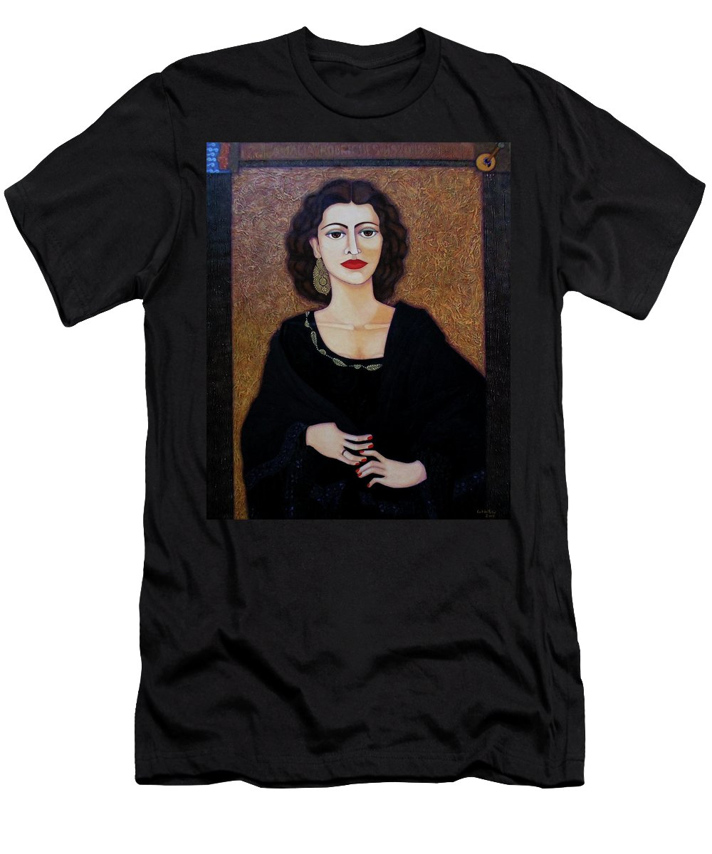 Portrait Men's T-Shirt (Athletic Fit) featuring the painting Amalia Rodrigues - Music Born In The Soul by Madalena Lobao-Tello