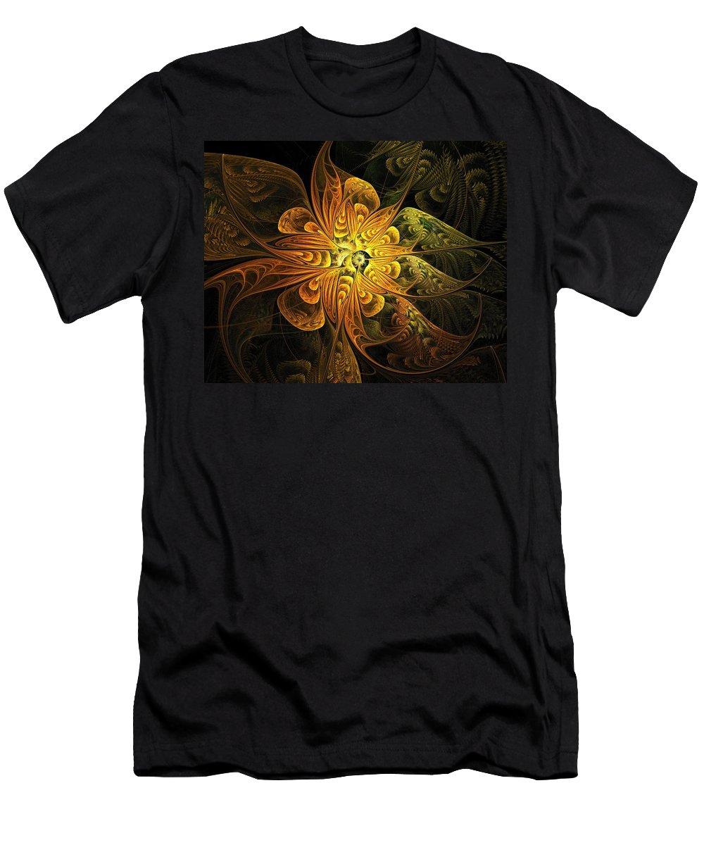 Digital Art Men's T-Shirt (Athletic Fit) featuring the digital art Amber Light by Amanda Moore