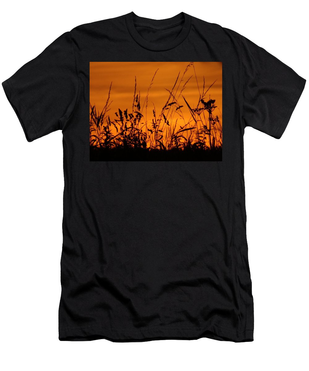Sunset Men's T-Shirt (Athletic Fit) featuring the photograph Amber Sundown Meadow Grass Silhouette by Susan Baker
