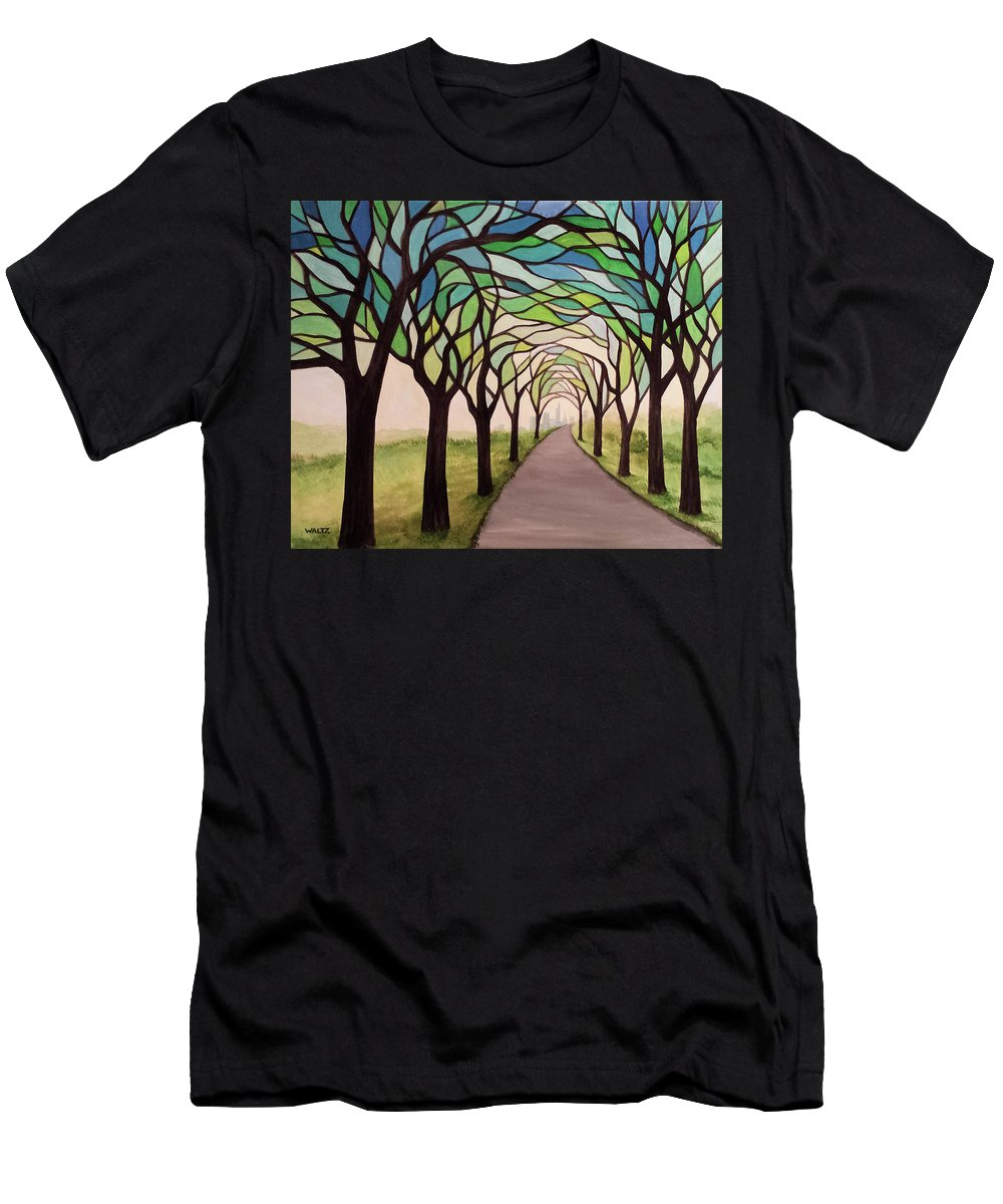 Stained Glass Style Painting Trees Path Skyline Men's T-Shirt (Athletic Fit) featuring the painting Ambiguous Anthropocene by Beth Waltz