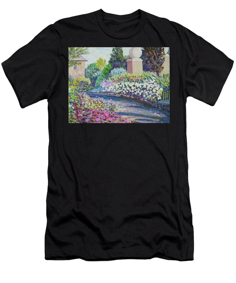 Flowers Men's T-Shirt (Athletic Fit) featuring the painting Amelia Park Pathway by Richard Nowak