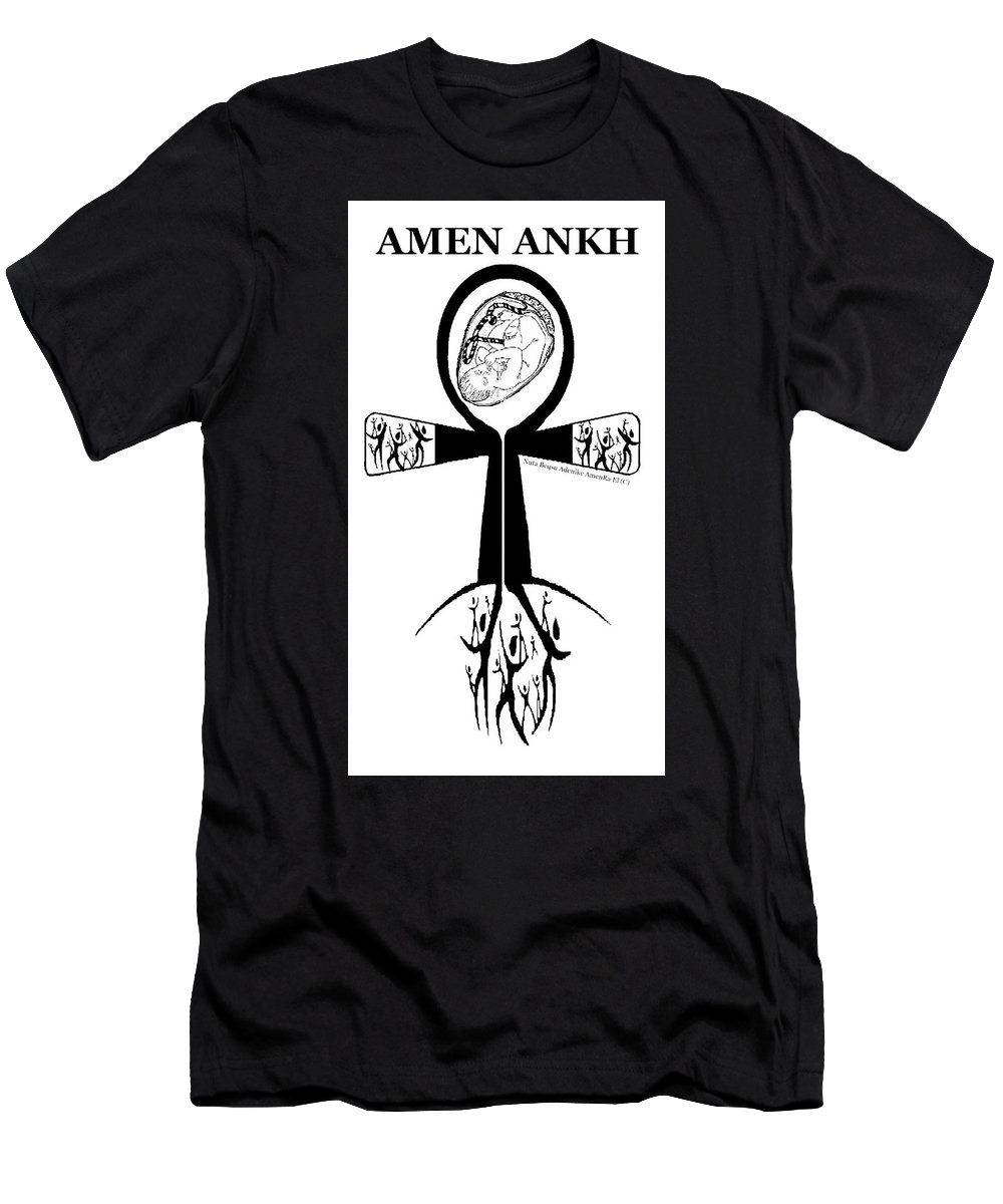 Amen Ankh Men's T-Shirt (Athletic Fit) featuring the digital art Amen Ankh Bw by Adenike AmenRa
