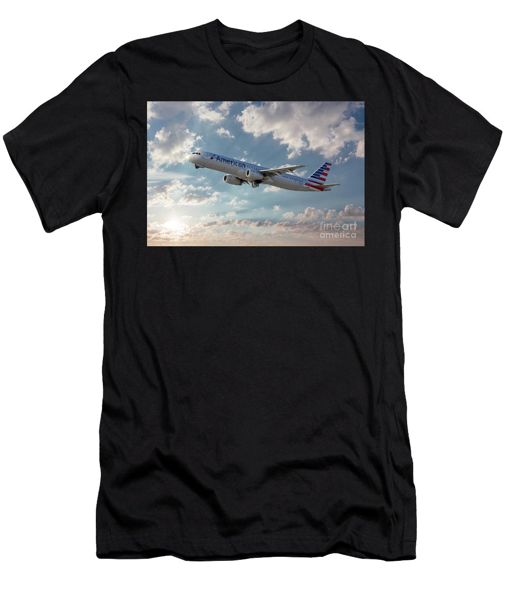 A321-231 Men's T-Shirt (Athletic Fit) featuring the digital art American Airlines A321-231 N917uy by J Biggadike